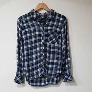 Rails plaid flannel hi low shirt size XS